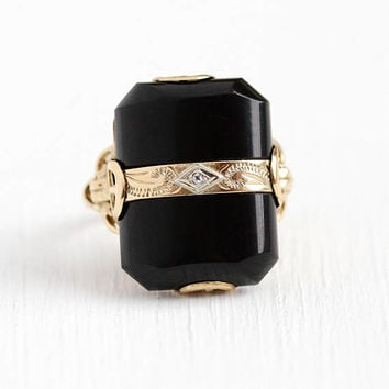 Vintage Onyx Ring - 10k Rosy Yellow Gold Black Onyx Gem & Diamond Big Statement - Size 7 1/4 Retro 1940s Dark Gemstone 40s Fine Jewelry