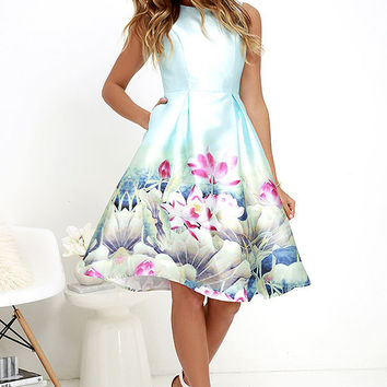Aquatic Queen Light Blue Floral Print Midi Dress