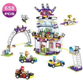 Friends Series Heart Lake City Kart Racing Day Building Blocks Sets Bricks Compatible Legoings Friend 41352 Girls Club Toys Gift
