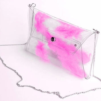 Pink clutch envelope bag with neon pink real feather transparent purse envelope with chain crossbody prom wedding party bag summer unique