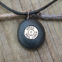 Bullet jewelry, 9mm bullet brass set in a basalt stone rock, bullet necklace, for him