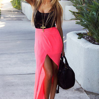 TULIP CHIFFON SKIRT WITH SHORTS - Neon Coral Pink