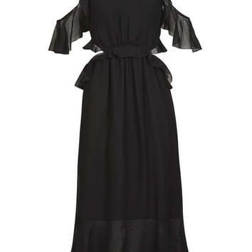 Ruffle Open Back Dress - Going Out - Clothing