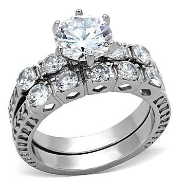 A Perfect 1.1CT Round Cut Russian Lab Diamond Wedding Ring Bridal Set