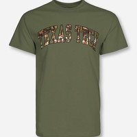 Classic Texas Tech Arch in Camo on Olive Green T-Shirt