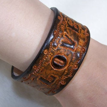 "Western Boho Leather Cuff Bracelet With Custum Lettering fits 6"" wrist 1 1/4"" wide"