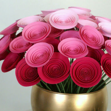 Spring Pink Ombre Paper Flower Centerpiece 30 Mini by FlowerThyme