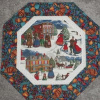 Holiday Table Topper Octagon Handmade Hand Embroidered  Machine Quilted Secret Santa Gift