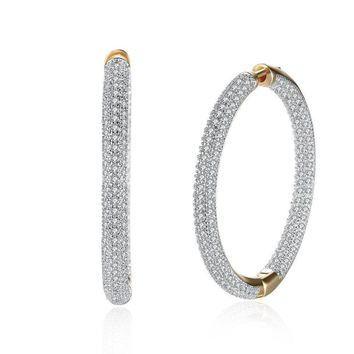 Swarovski Elements CZ Two Inch Round Hoop Earrings 18k White Gold Plated 1