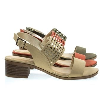 Voyage Natural Beige By Classified, Low Stack Block Heel Sandal w Geometric Cutout