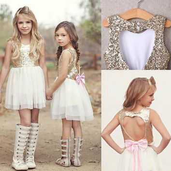 Sequins Princess Kids Baby Flower Girl Dress Bowknot Backless Party Gown Dresses 3-9Y