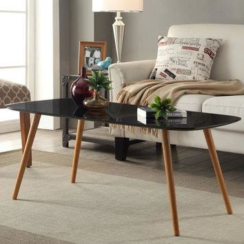 Modern Classic Mid-Century Style Black Top Coffee Table with Solid Wood Legs