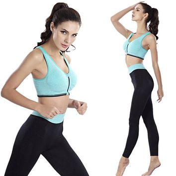 Sport bra+pants Women New No rims Adjustable Front zipper Sports bra Sports Leggings Elastic Yoga jogging Running pants