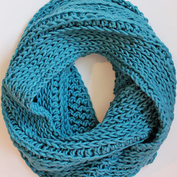 Infinity scarf - Aqua Blue- crochet infinity cowl- womens scarf - modern - cozy - winter - extra long- gift - free shipping