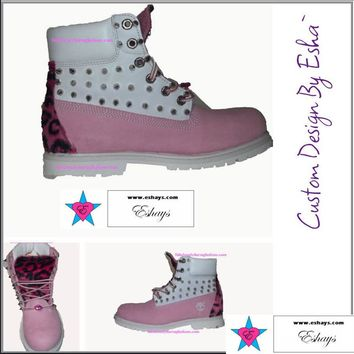 Custom Light Pink Painted Spiked Timberland with Cheetah Print and Lips