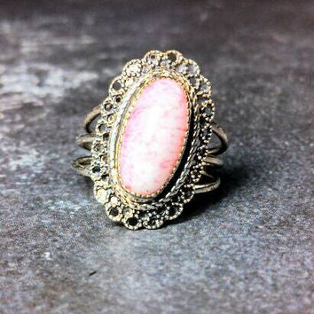 Sterling Pink Oval Stone Ring. Adjustable, Beau Sterling