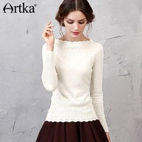 Artka 2017 Women's Long Wool Lace Sweater Autumn Long Sleeve Wool Pullover Winter Sweater Vintage Jumper Knitwear YB11255Q
