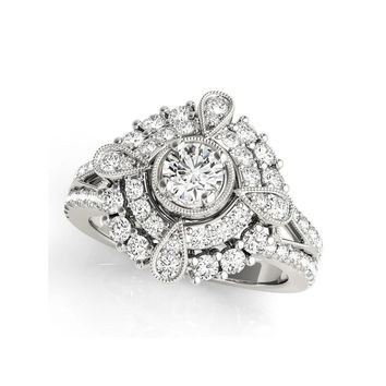 Round Pear Shape Halo Antique Scroll Engagement Ring