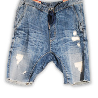 1FS-169 Dusty Blue Denim Jogger Shorts