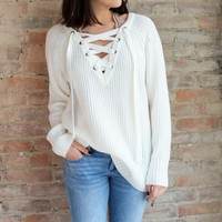 Fireside Lace Up Sweater