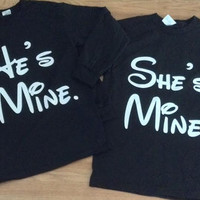 Free Shipping for US  He's Mine/She's Mine Long Sleeve  Couples T Shirts