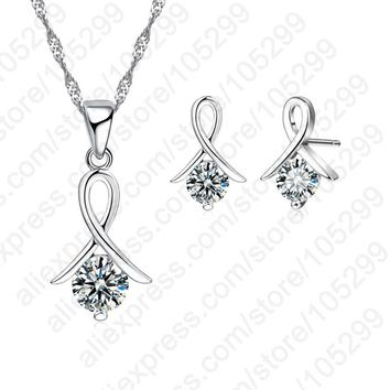 JEXXI New Fashion Set For Women Cross CZ 925 Sterling Silver Pendant Necklace & Stud Earrings With Free
