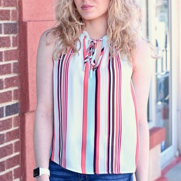 Keely Vertically Striped Tank {Sky Blue}