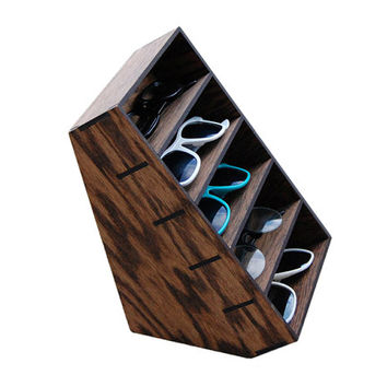 5ct Sunglasses Display Case Storage Holder Organizer Shelving Shelf 3D Glasses  Rack Oak Wood