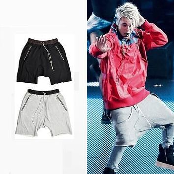 Urban clothing kanye west streetwear hiphop justin bieber dance shorts for men black/grey stretch cotton fashion short