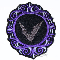 Vampire Bat Purple Silver Cameo Iron On Embroidery Patch MTCoffinz - Choose size