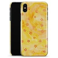 Cute Watercolor Flowers over Yellow - iPhone X Clipit Case