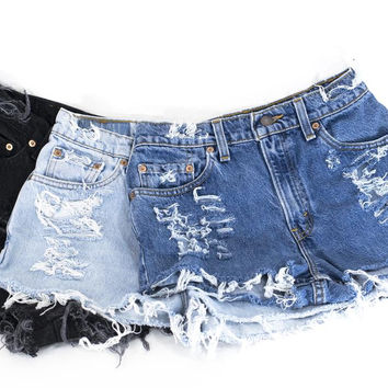 Levi Shorts Vintage Denim Cutoffs Distressed Jeans 1990s 1970s Levi's All Sizes