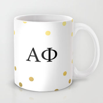 Alpha Phi Sorority Letters Mug ΑΦ Sorority Gift Sorority Sister ΑΦ Mug Sister Gift Coffee Mug Quote Gold Polkadot Greek Life Mug