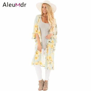 MDIG57D Aleumdr New 2017 Summer Womens Bathing Suit Cover-ups Floral Side Slit Boho Kimono Beach Tunic LC42216 Saida De Praia