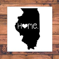 Illinois Home Decal | Illinios State Decal | Homestate Decals | Love Sticker | Love Decal  | Car Decal | Car Stickers | Bumper | 053
