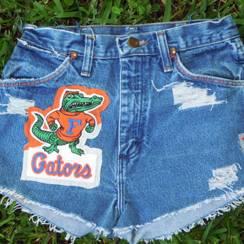 Vintage OOAK handmade distressed denim high waisted UF Florida GATORS festival fringed knicker cut shorts sz.7