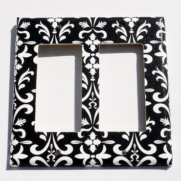 Light Switch Cover Wall Decor Double Rocker Switchplate in Black Damask  (179DR)