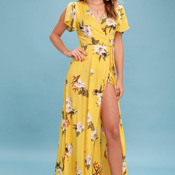 Heart of Marigold Yellow Tropical Print Wrap Maxi Dress