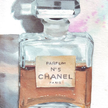HM063 Original watercolor Coco Chanel art by Helga McLeod