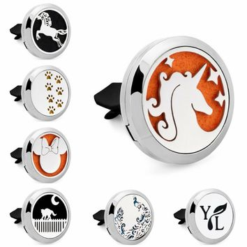 Unicorn Cat Paw Mouse 30mm Stainless Steel Essential Oil Car Diffuser Locket Vent Clip Aromatherapy Perfume Locket 10pcs Pads