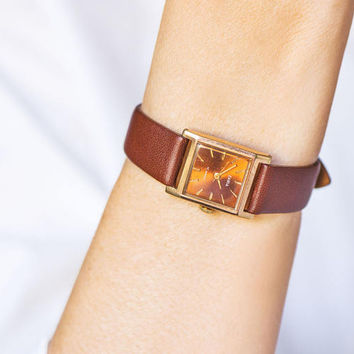 Square women's watch vintage, gold plated watch Dawn burgundy, minimal wristwatch her, dark copper face watch, new premium leather strap