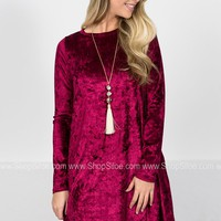 Crush Velvet Cherry Pocket Dress