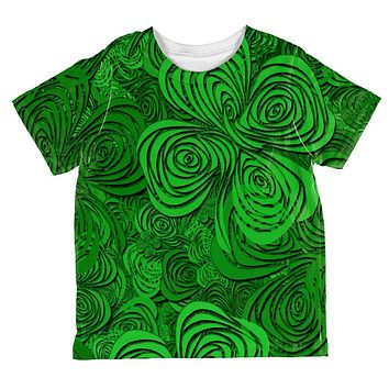 St Patricks Day Trippy Irish Clover Field All Over Toddler T Shirt