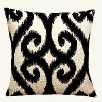 """Decorative Pillow case, Creamy Black color Textured fabric Throw pillow cover, fits insert 18""""x18"""" , Toss pillow cover, Cushion cover."""