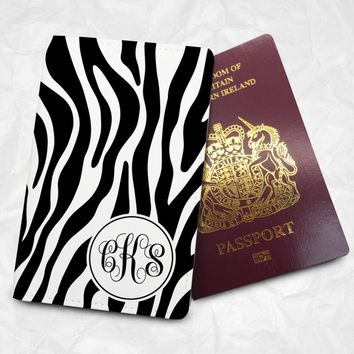 Personalized passport holder, FREE Monogram name printing, Custom PU leather passport cover, Zebra design (BBS010)