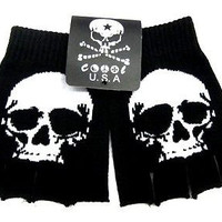 BLACK WHITE LARGE SKULL  KNIT FINGERLESS GLOVES WINTER WOMENS MEN