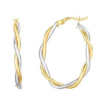 10K Yellow-White Gold 26x17x3mm Shiny Twisted Double Wire Extra Light Oval Hoop Earring with Hinge  Clasp