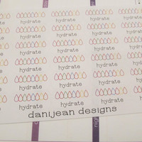 Hydration tracker stickers, water stickers, hydrate stickers, planner stickers, reminder stickers, drink water stickers
