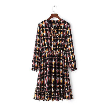Geometric Print Long Sleeve Ruffled Hem Ruched Elastic Waist Dress