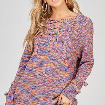Lace Up Colorful Sweater